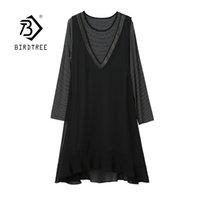 Primavera Mulheres Plus Size Listrado Joelho-Length Dress Falso Duas Peças Patchwork Elegante O-pescoço Vestidos Casuais Senhora Verão D13310X 210419