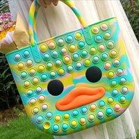 Fashion Cute Bag Fidget Toys Push Bubble Stress Reliever Rainbow Simple Dimmer Anti stress Children Sensory Toys Handbag Tote FY3269