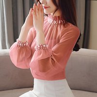 Women's Blouses & Shirts Women Tops And Lace Bottom Female Clothes Beading Blusas Spring Chiffon Blouse Long Sleeve