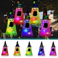 Party Hats 5 Pieces Of Light Up Halloween Decorations Witch Hat With Glowing Ghost Face Colors Pointed Decoration Supplies