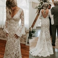 Rustic Style Lace Mermaid Wedding Dress Sexy Backless Illusion Long Flare Sleeves Bride Dresses V Neck Country Boho Bridal Gowns