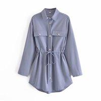 Women's Blouses & Shirts PUWD Elegant Women Loose Purple Long Shirt 2021 Spring Fashion Female Oversized Lacing Ladies Chic Solid Pocket Top