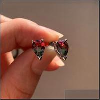 Jewelryluxury Female Crystal Small Stud Earrings Rose Gold Sier Color Wedding Cute Rainbow Zircon Stone For Women Drop Delivery 2021 Kb8S4