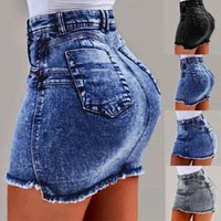 Skirts Sexy Women Denim Mini Skirt Fashion Summer High Waist Korean Pockets Blue Package Hip Jeans Wash #T1G