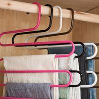 Hangers & Racks 5 Layers S Shape Iron Wardrobe Storage Pants Trousers Hanger Multi-Layers Clothing Rack Closet Space Saver