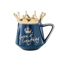 Mugs Queen Of Everything Mug With Crown Lid And Spoon Ceramic Coffee Cup Gift For Girlfriend Wife Dropship
