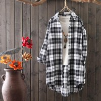 Women's Blouses & Shirts 2021 Spring Women Cotton Blouse Shirt Plaid Loose Casual Long Sleeve Large Size Tops Womens