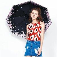 Umbrellas Black Coating Strong Umbrella Floral Print Elegant Rain Women Super Light Sunny And Rainy No Reverse Paraguas