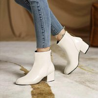 Boots Sianie Tianie Patent PU Leather White Black Round Toe Chunky Heels Back Zip Concise Office Lady Winter Shoes Ankle