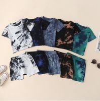 Baby Designer Clothes Kids Clothing Sets Tie Dye Cotton Top Shorts Pants Suits Summer Short Sleeve O-Neck T-shirt Infant Leisure Wear 2pcs wmq1101