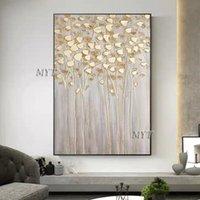 그림 팔레트 나이프 질감 꽃 유화 캔버스 아트 100 % 손으로 그린 벽 장식 추상 3D 두꺼운 꽃 그림