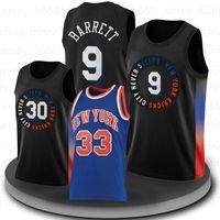 "RJ 9 Barrett Jersey New York ""Knicks"" Basquetebol Immanuel Julius Quickley Randle Patrick 33 Ewing Kristaps 6 Porzingis Derrick 4 Rose Latrell 8 Ómido"