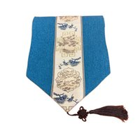 Chinese Style Tassel Table Runner Luxury Cotton Linen Jacquard Decorative Bed Runners Flag Living Room Hotel