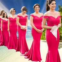Fuchsia Off -Shoulder Bridesmaid Dresses Sweetheart Mermaid Maid of Honor Dress Country Wedding Party Gowns