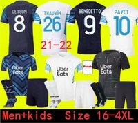 Erwachsene und Kinder Größe 16-4XL 2021 2022 Marseille Payet Fussball Jersey Olympique de MAILLOT FOWN 21 22 CUMSION THAUVIN FUSSBALL SHIRTS KIT BENEDETTO KAMAR