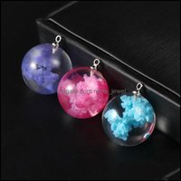 Charms Findings & Components Jewelrycreative Design Colorf Sky Blue White Cloud Rod Moon Pendant Resin Transparent Ball Charm For Necklace D