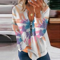 Women's Blouses & Shirts Women Zipper Blouse Paisley Tie Dye Print V Neck Long Sleeves Casual Autumn Elegant Pullover Plus Size Top