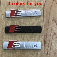 Fashion 3D S Line Sline Car Front Grille Emblem Badge Metal Alloy Stickers Accessories Styling For Audi A1 A3 A4 B6 B8 Auto Decal Accessories