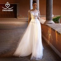 Other Wedding Dresses Beaded Appliques Lace Dress SwanSarah Beach Scoop A-Line Tulle Illusion Bride Gown Desinger Princess Robe De Mariee NY