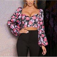 Blouses Femmes Chemises Bstcochi Imprimé Floral Chemisier Crochette Femmes Lanterne Sleeve Crop Top pour femmes d'été Sexy Low Cut
