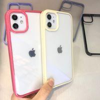 Custodia per telefono acrilico color caramelle trasparente trasparente custodia protettiva custodia antiurto per iPhone 12 11 Pro MAX12