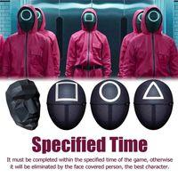 Kalamar Oyunu Cosplay ABS Malzeme Maskesi Oyuncak Kare Daire Üçgen Siyah Maskeleri Cadılar Bayramı Tam Yüz Unisex Yetişkin Kostüm Prop Partisi