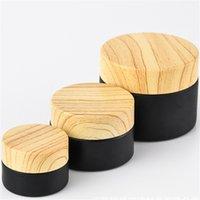 Frascos de vidro fosco preto frascos cosméticos com peitas de plástico Woodgrain PP Liner 5G 10G 15G 20G 30 50G Lip Balm Creme Recipientes DHL