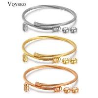 Tornillo de brazalete de alambre de cable elástico unisex con brazalete de acero inoxidable con enchufe de extremo extraíble Twisted Publy Charm Charm Beads Fit DIY Jewelry x0706