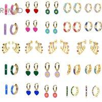 Hoop & Huggie ROMAD Exquisite 2021 Trend Round Heart Flower Pendant Earrings Women 925 Sterling Silver Drop Oil Enamel Fine Jewlery