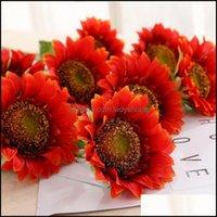 Декоративные праздничные партии поставки GardenceRative Цветы венки 1bunch One Head 5inch Sunflower Silk Silk Shination Samation Irucial Lengt