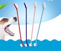 Hundepflege Schönheit Werkzeuge Haustier Zahnbürste Katze Welpe Dental Doppelköpfe Zahnbürsten Zähne Gesundheit Zubehör Hunde Zahn Waschen Reinigungswerkzeug