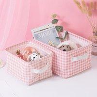Canestri di stoccaggio Biancheria di cotone Biancheria di cotone Cosmetici Gioielli Custodia Desktop Detritis Box Pink Cute Sundries