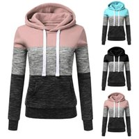 Fashion Womens Casual Hoodies Sweatshirt Patchwork Print Ladies Hooded Pullover Warm Chandail Women's & Sweatshirts
