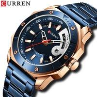 Relógio masculino moda chique aço inoxidável quartzo masculino relógios com data e semana cavalheiro escolha relógios de pulso
