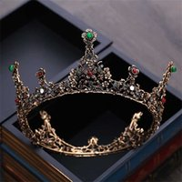 Baroque Vintage Gold Black Crystal Beads Round Bridal Tiaras Crown Royal Queen Pageant Crown Wedding Hair Accessories 211019