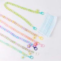 Anti-lost Face Cover Mask Chain Smily Flower Acrylic Lanyard Glasses Necklace For Women Long Strap Holder Chains