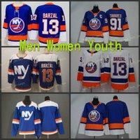 2021 النساء الشباب أطفال نيويورك ساوندرز جيرسي 91 جون تافاريس 13 ماثيو البرزال الأزرق فارغة جميع ستيشيد الهوكي جيرسي فتيات الفتيات