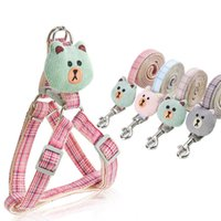 Arnés de perro Cuello de correa conjunto Ajuste de perros de dibujos animados ajustable Arnés para perros para pequeñas mascotas medianas Cuello de cuello de gato Caminar al aire libre