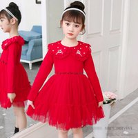 Children christmas party dresses girls reindeer snow embroidery falbala lapel long sleeve dress new years kids velvet red lace gauze princess clothing Q2756