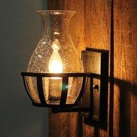 Duvar Lambası Vintage Kabarcık Cam Vazo Şekli E14 Ampul Aplik Ev Deco Retro Yatak Odası Başucu Siyah Demir Işık Fikstürü