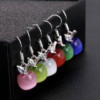 Fashion Pink White Apple Opal Stone Dangle Earring Beads Long Silver Color Fruit Zircon Earrings For Women Crystal Jewelry