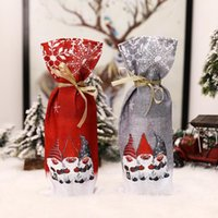 Christmas Wine Bottle Cover Gnomes Pattern Champagne Gift Bag Xmas Table Ornaments Dinner Party Decoration RRB11179