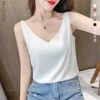Women's Blouses & Shirts Summer Fashion Chiffon Women Tank Tops V-Neck Sleeveless Female White Womens And Blouse Basic Clothing