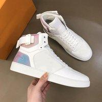 Rivoli Botas Sapata de Luxo Sapatilhas Do Vintage Calfskin High Top Designer Sneaker Homens Mulheres Arco-íris Multi Borracha Sales Treinadores Sapatos Casuais