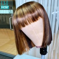 Lace Wigs Short Bob Wig Red Fringe Highlight With Bangs Remy Brazilian Front Human Hair Ombre Closure For Black Women