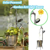 Solar Garden Decorations Light Led Water Faucet Patio Metal Stake Flowerpot Lamp Lawn Outdoor Home Decor