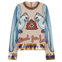 Взлетно-посадочная полоса дизайнер женские свитер блестки украшенные вязаные перемычки рукав осень зима шикарные свитера и пуловеры 2020 одежда1