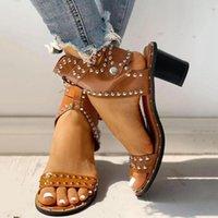 Dress Shoes 2021 Fashion Women Summer Sandals Mid Heels Woman Rivet Gladiator Cross-tied Sexy Sandalias Buckle Strap Office