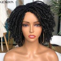 짧은 Dreadlock 곱슬 머리 가발 합성 소프트 가짜 locs 가발 흑인 여성을위한 옹 브리 크로 셰 뜨개질 꼰 꼬임