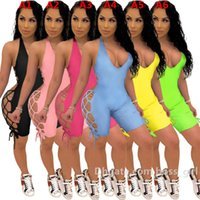 Sexy Femmes Jumpsuits Rompes Designer Summer Club V-Cou Bandage Bandage Backless Onesise Couleur Solid Couleur Couture Steveless Shorts Slim Playssuit